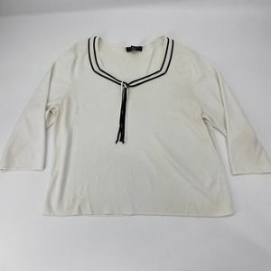CABLE & GAUGE Sailor 3/4 Sleeve Pullover Sweater